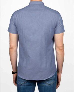 پیراهن آستین کوتاه مردانه نخی- آبی روشن- پشت