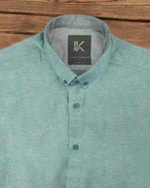پیراهن آستین کوتاه مردانه نخی- آبی فیروزه ای- روبرو محیطی- یقه