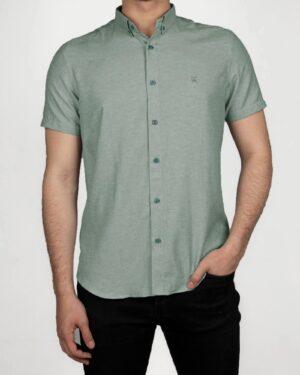 پیراهن آستین کوتاه مردانه نخی- آبی فیروزه ای- روبرو