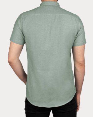 پیراهن آستین کوتاه مردانه نخی- آبی فیروزه ای- پشت