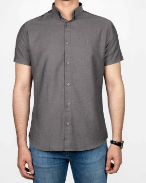 پیراهن آستین کوتاه مردانه نخی- خاکستری- روبرو