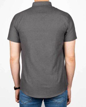 پیراهن آستین کوتاه مردانه نخی- خاکستری- پشت
