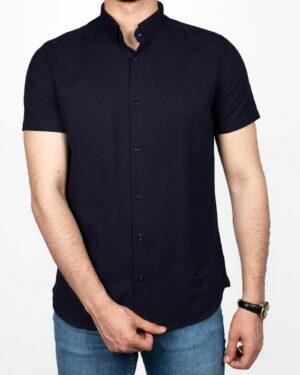 پیراهن آستین کوتاه مردانه نخی- سرمه ای تیره- روبرو