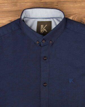 پیراهن آستین کوتاه مردانه نخی- سرمه ای- روبرو محیطی-یقه
