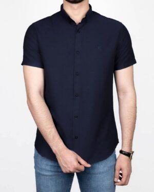 پیراهن آستین کوتاه مردانه نخی- سرمه ای- روبرو
