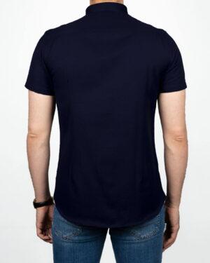 پیراهن آستین کوتاه مردانه نخی- سرمه ای- پشت