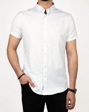 پیراهن آستین کوتاه مردانه نخی- سفید- روبرو