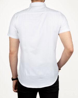 پیراهن آستین کوتاه مردانه نخی- سفید- پشت