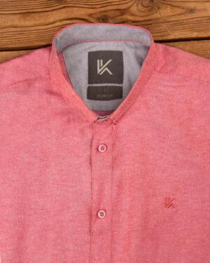 پیراهن آستین کوتاه مردانه نخی- صورتی- روبرو محیطی-یقه