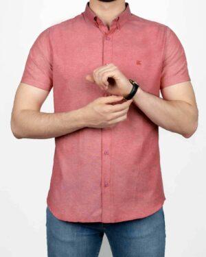 پیراهن آستین کوتاه مردانه نخی- صورتی- روبرو