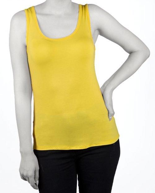 تاپ اسپرت زنانه نخی- زرد- نمای روبرو