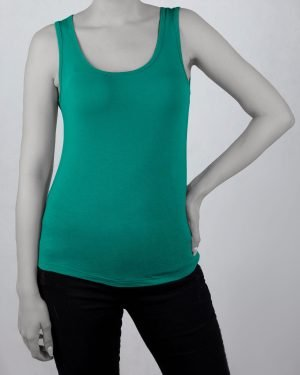 تاپ اسپرت زنانه نخی- سبز خزه ای- روبرو