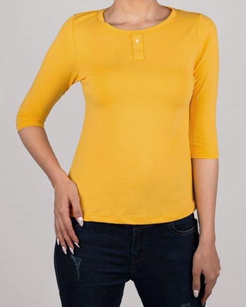 تیشرت آستین سه ربع زنانه - زرد- روبرو