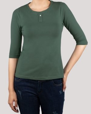 تیشرت آستین سه ربع زنانه - سبز خزیه ای- روبرو