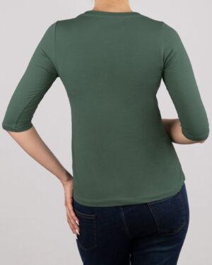 تیشرت آستین سه ربع زنانه - سبز خزیه ای- پشت