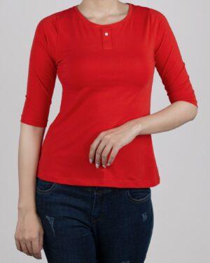 تیشرت آستین سه ربع زنانه - قرمز- روبرو