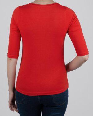 تیشرت آستین سه ربع زنانه - قرمز- پشت