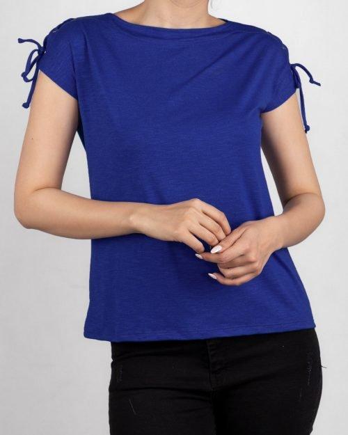 تیشرت آستین کوتاه ساده زنانه - آبی کاربنی- روبرو