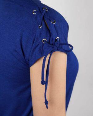 تیشرت آستین کوتاه ساده زنانه - آبی کاربنی- سرآستین