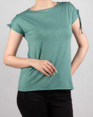 تیشرت آستین کوتاه ساده زنانه - سبزدریایی- روبرو