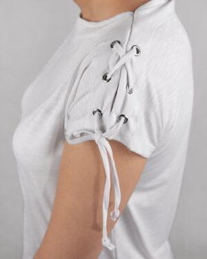 تیشرت آستین کوتاه ساده زنانه - سفید- سرآستین