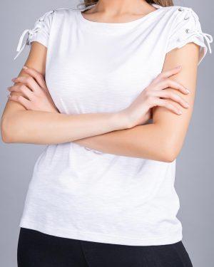 تیشرت آستین کوتاه ساده زنانه - سفید- نمای روبرو