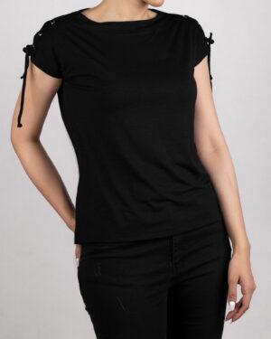 تیشرت آستین کوتاه ساده زنانه - مشکی- روبرو