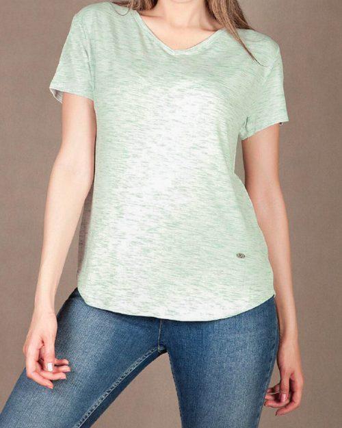 تیشرت راحتی زنانه - سبز کمرنگ- نمای روبرو