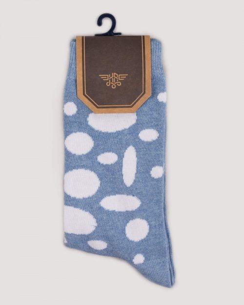 جوراب نخی طرح دار- آبی آسمانی- روبرو
