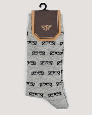 جوراب نخی طرح دار- طوسی- روبرو