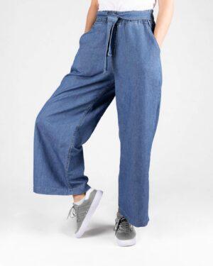 شلوار جین دخترانه کمر کش- آبی- روبرو