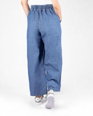 شلوار جین دخترانه کمر کش- آبی- نمای پشت