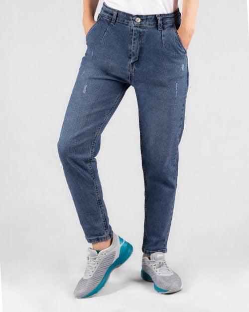 شلوار جین مام فیت- آبی- روبرو