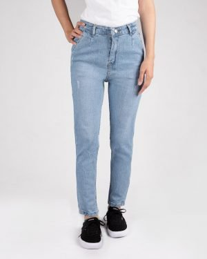 شلوار جین مام فیت آبی روشن- روبرو
