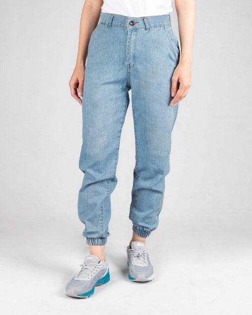 شلوار جین گت دار دخترانه- آبی روشن- روبرو