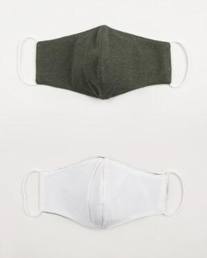 ماسک تنفسی پارچه ای-زیتونی ملانژ -بیرون و آستر ماسک