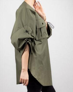 مانتو کیمونو دخترانه- زیتونی سیر- نمای بغل