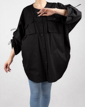 مانتو کیمونو دخترانه- مشکی- نمای روبرو محیطی- دیتیل