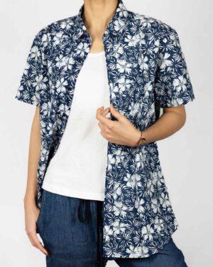 پیراهن آستین کوتاه زنانه طرح هاوایی-روبرو