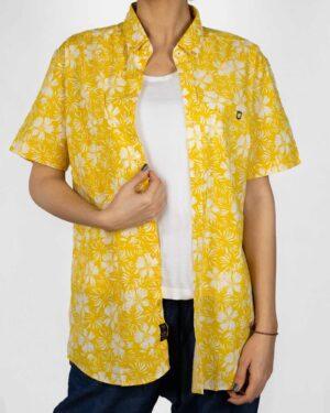 پیراهن آستین کوتاه زنانه طرح هاوایی- زرد- نمای روبرو