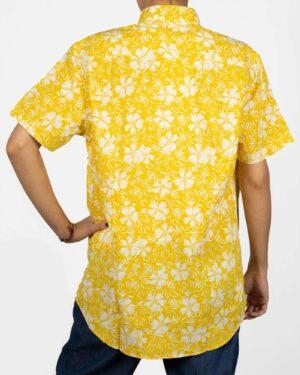پیراهن آستین کوتاه زنانه طرح هاوایی- زرد- نمای پشت