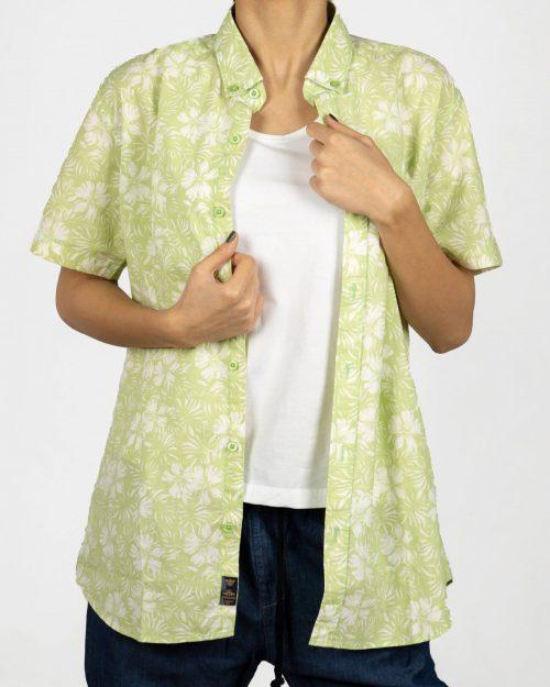 پیراهن آستین کوتاه زنانه طرح هاوایی- سبز شبرنگ- روبرو