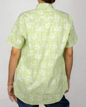 پیراهن آستین کوتاه زنانه طرح هاوایی- سبز شبرنگ- نمای پشت