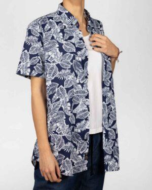 پیراهن آستین کوتاه زنانه طرح هاوایی- سرمه ای تیره- روبرو
