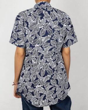 پیراهن آستین کوتاه زنانه طرح هاوایی- سرمه ای تیره- پشت