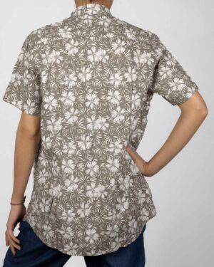 پیراهن آستین کوتاه زنانه طرح هاوایی قهوه ای روشن- پشت