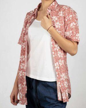پیراهن آستین کوتاه زنانه طرح هاوایی- گلبهی- روبرو