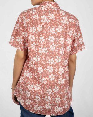 پیراهن آستین کوتاه زنانه طرح هاوایی- گلبهی- پشت