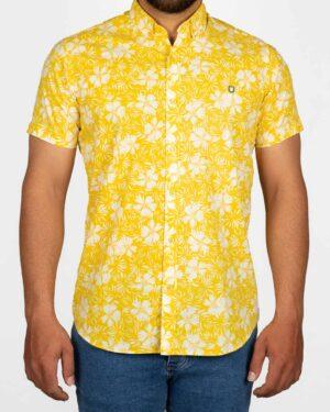 پیراهن مردانه طرح هاوایی- زرد- نمای روبرو