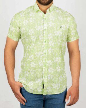 پیراهن مردانه طرح هاوایی- سبز شبرنگ- نمای روبرو
